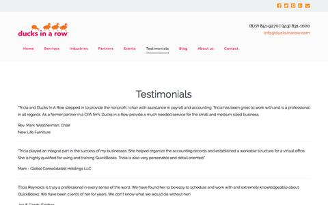 Screenshot of Testimonials Page ducksinarow.com - Mason, OH, Cincinnati, OH QuickBooks bookkeeping help Ducks in a Row |  Testimonials - captured Oct. 13, 2017