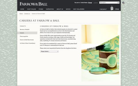 Screenshot of Jobs Page farrow-ball.com - Farrow & Ball - Careers at Farrow & Ball - captured Sept. 18, 2014