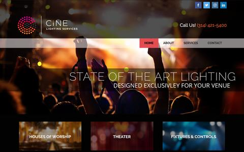 Screenshot of Home Page cineservices.com - Cineservices | Lighting Design - Wireless Audio | St. Louis - captured Sept. 28, 2018