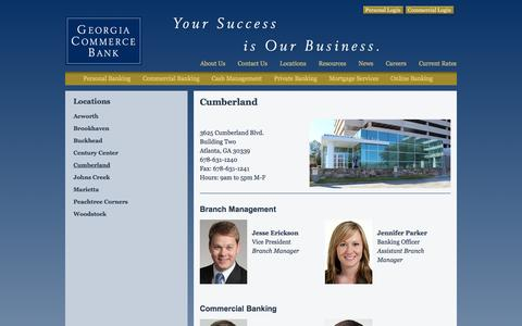 Screenshot of Locations Page gacommercebank.com - Cumberland - captured Oct. 2, 2014