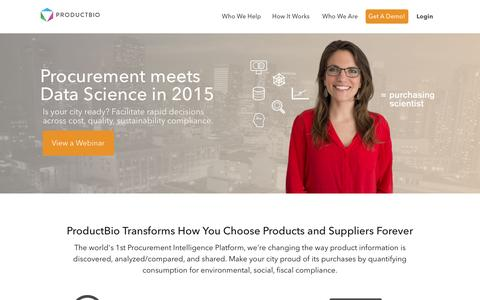 Screenshot of Home Page productbio.com - ProductBIO | The Future of Quantified Consumption - captured Sept. 20, 2015