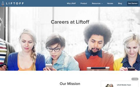 Screenshot of Jobs Page liftoff.io - Careers - Liftoff - captured May 6, 2016