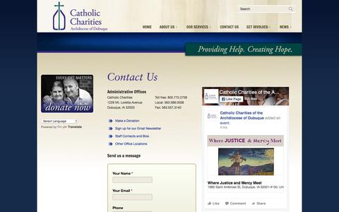 Screenshot of Contact Page catholiccharitiesdubuque.org - Contact Us  « Catholic Charities of Dubuque - captured Oct. 27, 2016