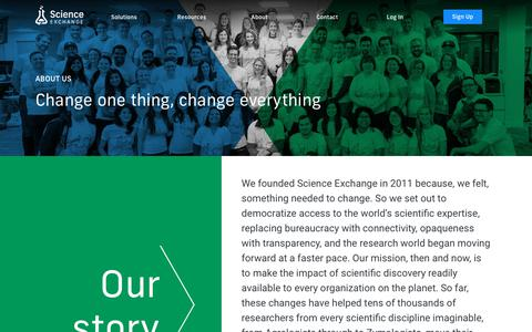 Screenshot of About Page scienceexchange.com - Science Exchange - Order experiments from the world's best labs - captured July 17, 2019