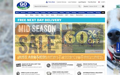 Screenshot of Home Page gooutdoors.co.uk - GO Outdoors | Outdoor Clothing | Walking Boots | Winter Coats - captured May 4, 2018