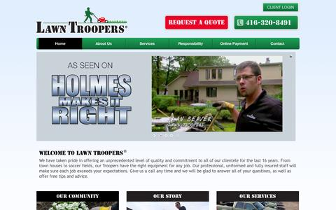 Screenshot of Home Page lawntroopers.com - Lawn Care and Maintenance in Ontario – Lawn Troopers - captured Jan. 26, 2016