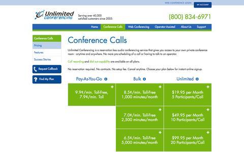 Screenshot of Signup Page unlimitedconferencing.com - Unlimited Conferencing - captured Feb. 26, 2016