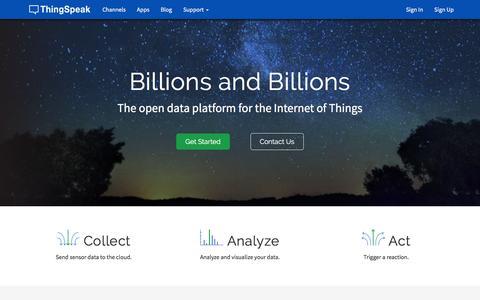 Screenshot of Home Page thingspeak.com - Internet Of Things - ThingSpeak - captured Feb. 21, 2016