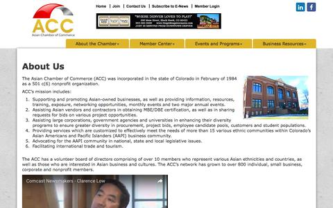 Screenshot of About Page acccolorado.org - About Us - Asian Chamber of Commerce, CO - captured Nov. 21, 2016