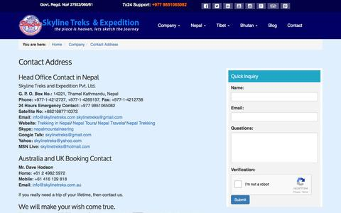 Screenshot of Contact Page skylinetreks.com - Contact Address - Trekking Agency in Nepal - captured Nov. 30, 2016