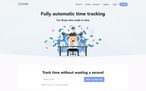Screenshot of Home Page timelyapp.com - Fully automatic time tracking - Timely - captured April 9, 2018