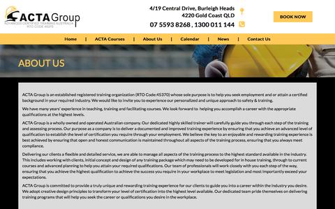 Screenshot of About Page actagroup.com.au - About ACTA Group | Mining Courses | Mining Training | ACTAgroup - captured July 28, 2018