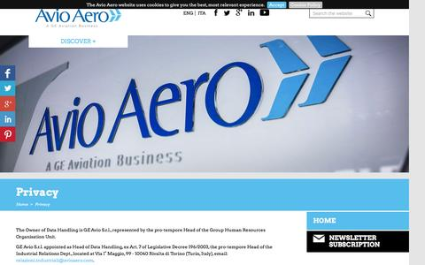 Screenshot of Privacy Page avioaero.com - Privacy / Home - Avioaero - captured Feb. 6, 2016
