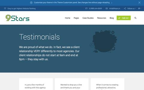 Screenshot of Testimonials Page 9stars.in - Testimonials | 9stars.in - captured Oct. 7, 2014