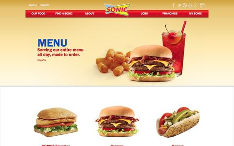 Screenshot of Menu Page sonicdrivein.com - Sonic Menu - Burgers, Hot Dogs, Tots, Shakes, Slushes and More! | Sonic, America's Drive-In - captured Sept. 18, 2014