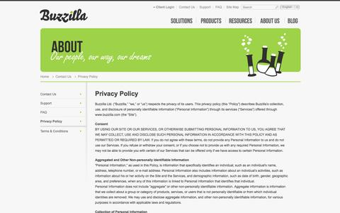 Screenshot of Privacy Page buzzilla.com - Privacy Policy, Contact Us, Buzzilla - captured Sept. 13, 2014