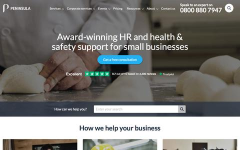 Screenshot of Home Page peninsulagrouplimited.com - Employment Law, HR & Health and Safety Services | Peninsula UK - captured Aug. 20, 2019