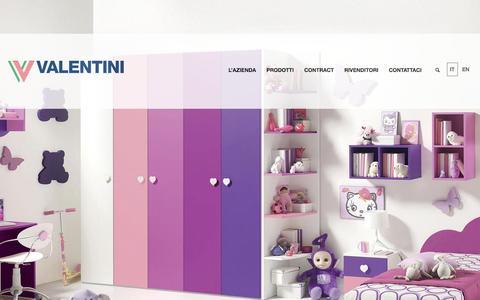Screenshot of Home Page valentini.com - Valentini Industrie, produzione mobili casa e ufficio - captured Feb. 10, 2016