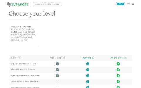 Screenshot of Pricing Page evernote.com - Get Evernote Basic for free or upgrade to Plus or Premium | Evernote - captured Nov. 25, 2015