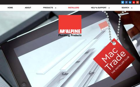 Screenshot of Signup Page mcalpineplumbing.com - Installers | McAlpine Plumbing Products - captured Oct. 4, 2017