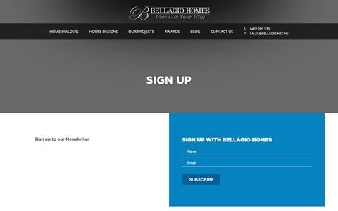 Screenshot of Signup Page bellagio.net.au - Sign Up » Bellagio Homes - captured Nov. 13, 2018