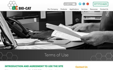Screenshot of Terms Page bio-cat.com - Terms of Use | BIO-CAT - captured Nov. 6, 2018