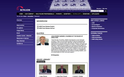 Screenshot of Press Page actelion.com - Newsroom - captured May 4, 2016