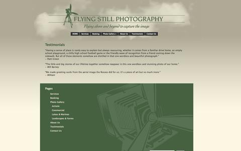 Screenshot of Testimonials Page flyingstillphotography.com - Testimonials | Flying Still Photography - captured Sept. 30, 2014
