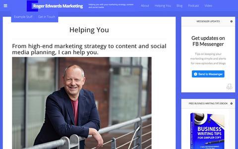 Screenshot of Services Page rogeredwards.co.uk - Helping You - captured Nov. 27, 2017