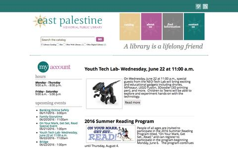 Screenshot of Home Page east-palestine.lib.oh.us - East Palestine Memorial Public Library - captured June 18, 2016