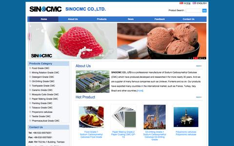 Screenshot of Home Page sino-cmc.com - SINOCMC CO.,LTD. - CMC,Sodium Carboxymethyl Cellulose,Carboxymethyl Cellulose,Carboxy Methyl Cellulose,Manufacturer,Supplier - captured Feb. 2, 2016