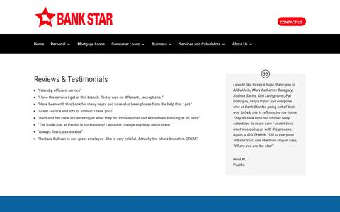 Screenshot of Testimonials Page bank-star.com - Testimonials - Bank Star - Online Banking, Checking, Savings, Commercial, Mortgage, Personal Loans - captured Oct. 9, 2017
