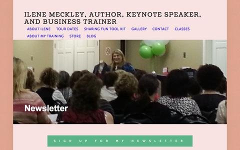 Screenshot of Contact Page ilenemeckley.com - Newsletter — Ilene Meckley, Author, Keynote Speaker, and Business Trainer - captured Aug. 3, 2015