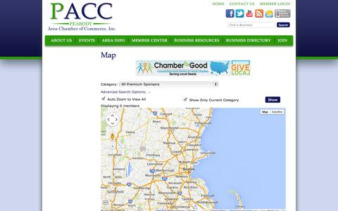 Screenshot of Maps & Directions Page peabodychamber.com - Map - Peabody Area Chamber of Commerce - PACC - captured Oct. 2, 2014