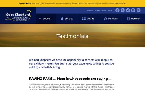 Screenshot of Testimonials Page goodshep.com - Testimonials | Good Shepherd Lutheran Church | Burnsville, MN - captured Jan. 31, 2016