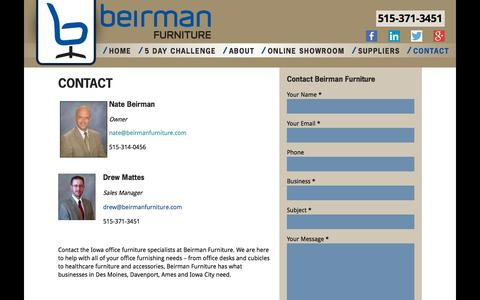 Screenshot of Contact Page beirmanfurniture.com - Contact Beirman Furniture for Quality Iowa Office Furniture - captured Sept. 30, 2014
