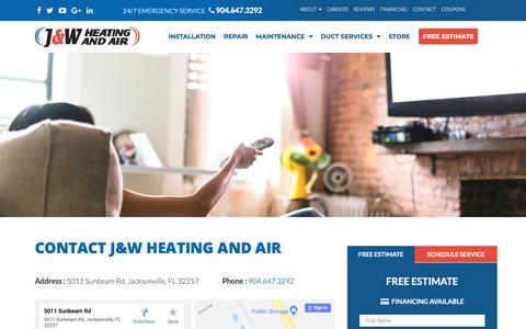 Screenshot of Contact Page jandwheatingandair.com - Contact Us | J & W Heating and Air - Jacksonville, FL - captured Oct. 1, 2018