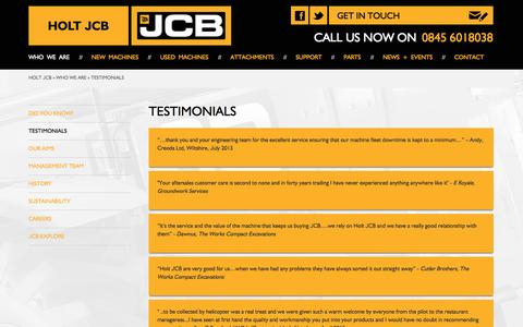 Screenshot of Testimonials Page holtjcb.co.uk - Holt JCB | Testimonials - captured Oct. 3, 2014