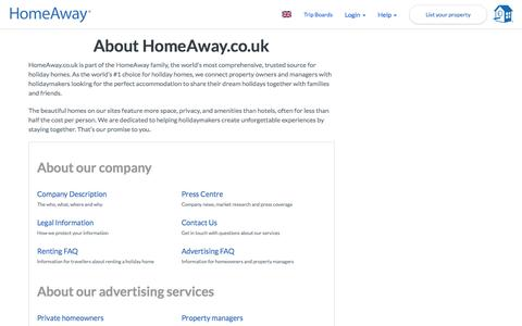 Screenshot of About Page homeaway.co.uk - About HomeAway Holiday-Rentals - captured July 17, 2018