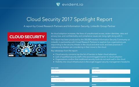 Screenshot of Landing Page evident.io - Cloud Security 2017 Spotlight Report - captured April 17, 2017
