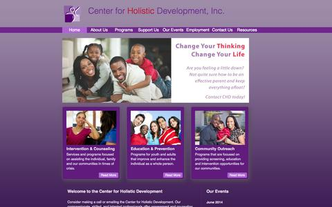 Screenshot of Home Page chdomaha.org - Center for Holistic Development | Welcome - captured Oct. 2, 2014