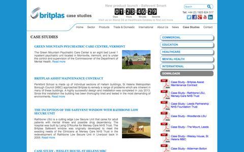 Screenshot of Case Studies Page britplas.com - Case Studies, Anti Climb Solutions, Anti Climb uPVC and Office Windows - captured Oct. 5, 2014