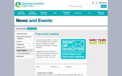Screenshot of Signup Page educationscotland.gov.uk - Email updates - News and events - captured Nov. 23, 2015