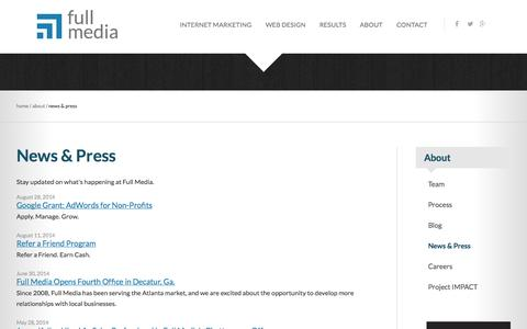 Screenshot of Press Page fullmedia.com - News and Press | Full Media - captured Sept. 19, 2014