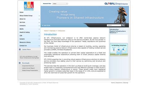 Screenshot of Services Page gtlinfra.com - GTL Infrastructure Limited - Services - captured Nov. 6, 2014