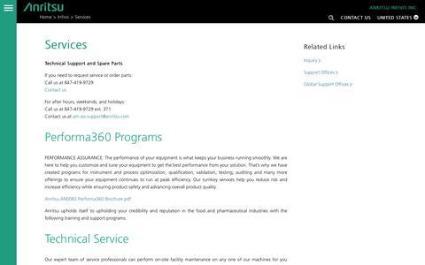 Screenshot of Services Page anritsu.com - Anritsu Services | ANRITSU INFIVIS- Anritsu America - captured Oct. 8, 2017