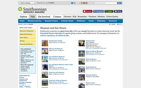 Screenshot of Hours Page si.edu - Hours | Visit | Smithsonian - captured Oct. 26, 2014