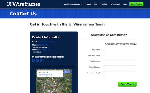 Screenshot of Contact Page uiwireframes.com - Contact Us | UI Wireframes - captured Sept. 30, 2014