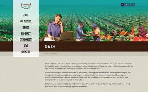 Screenshot of Services Page proactusa.com - Supply Chain Management | Fresh Produce Source | Retail | Services - captured Oct. 28, 2014