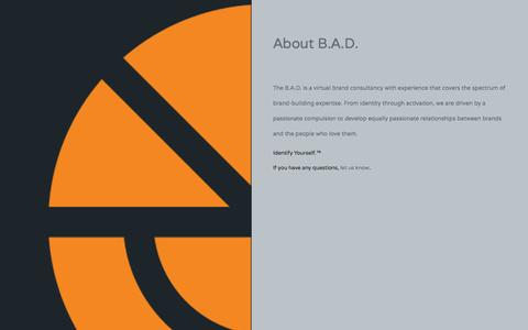 Screenshot of About Page brandaffairsdept.com - About B.A.D. — Brand Affairs Dept. - captured Sept. 30, 2014